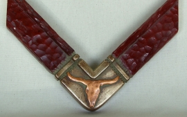 3 inch wide Copper/silver Longhorn, Dark Red Finish