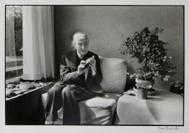 Georgia O'Keeffe holding Chama River Stone, Abiquiu, New Mexico. 1975 c.Dan Budnik 1995 Silver gelatin Print $2,500.00