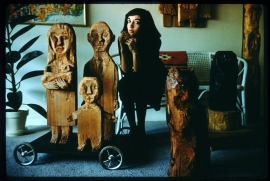 "Marisol Escobar, West 10th Street, New York, 1958, with ""The Hungarians"""