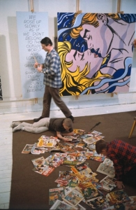 "Roy Lichtenstein with his sons David and Mitchell, West 26th Street studio, New York, 1964, with ""We Rose Up Slowly"""