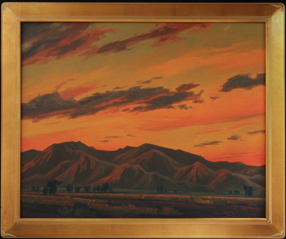 white tanks sundown 24 x 30 inches frame 29 x 35 inches oil on canvas