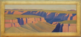 Ed Mell Distant Canyon 24 x 60 oil on canvas $33,700.00. Offers considered, please contact gallery.
