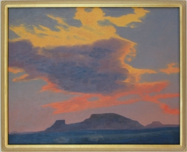 Ed Mell Sunset over Mesa 16 x20 inches, Oil on canvas $9,000.00. Offers will be considered, please contact gallery.