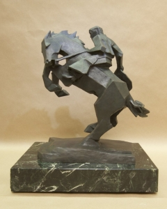 Rearing Back4, Bronze, Ed Mell, 16H x 13W x 9D, Edition of 30, $9,500.00