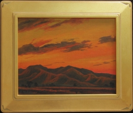 Study for White Tanks Sundown, Oil on panel 11 x 14 inches Frame 16 x 19, $5,000.00. inches