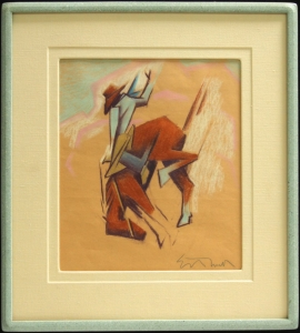Ed Mell, Going Over, 15.25 x 13 inches, Frame 24 x 21 inches, , Linen mat, Zolatone finish on Ed Mell Signature Frame, ca. 1980 $4,900.00