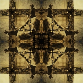 Cowboy Symmetry, Archival Pigment Print, 22x22inches. Call for pricing. Original art by Michael Collier, Copyright 2017
