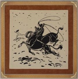 COW-BOYS ca. !954 Silk Scarf ,Custom design