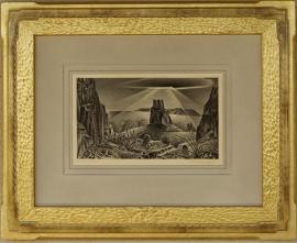 Alexander Hogue Lithograph, Art Deco Style Frame
