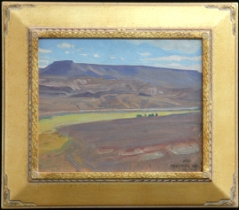 Deco Style Gold Frame 3 in Wide , 2 in Tall, Maynard Dixon Virgin Valley NV 1927 MD Logo Gold Frame