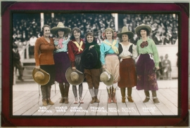 Custom Hand Finished Carved Frame, Pendleton Roundup 1918, 36 x 54 archival photograph