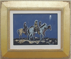Art Deco Gold Leaf Frame, Art Deco Style with Signature Logo, Circle M Brand, 3.5 inches wide, 2 inches tall, Lon Megargee,Three Wise Men Painting on board 22.5 x 27