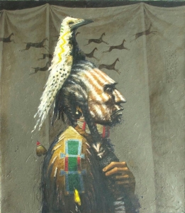 Medicine Crow Greg Singley Oil on Canvas 48 x 42 inches Price on Request
