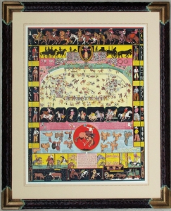 Evolution of the Cowboy 1933, $4,500.00, framed. Hand carved and custom finish with French line custom mat, archival framing standards.