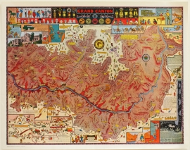 Grand Canyon Map, Jo Mora 1931, Original Print, 15 x 19 inches. Sold as framed only, price on request.