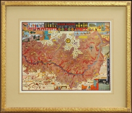 Grand Canyon Map, Jo Mora, Hand carved signature Frame with hand applied French line mat, Price on Request