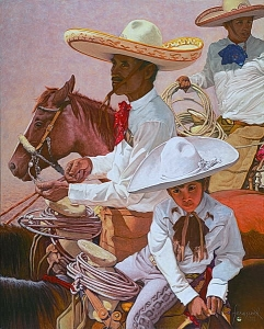 PADRE, HIJO, HIJO (Father, Son, Son) Limited to 75 plus 10 artist's proofs USD $2200 The family tradition is still strong in Mexico, especially among the Charros. As with horse people everywhere, young and old alike participate. This group represents a Grandfather, his Son, and his Son, in turn.