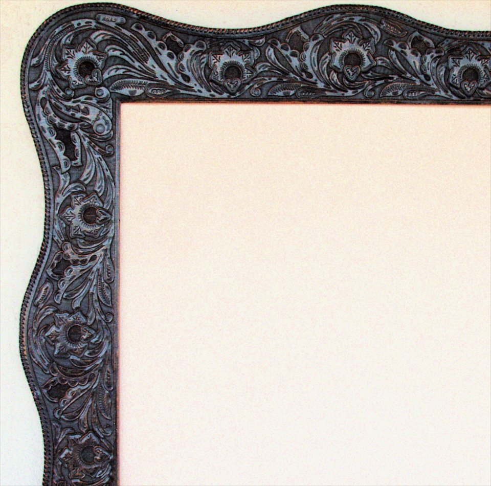 western hand tooled leather frame inside opening 30x30 inches outside 425x425 inches
