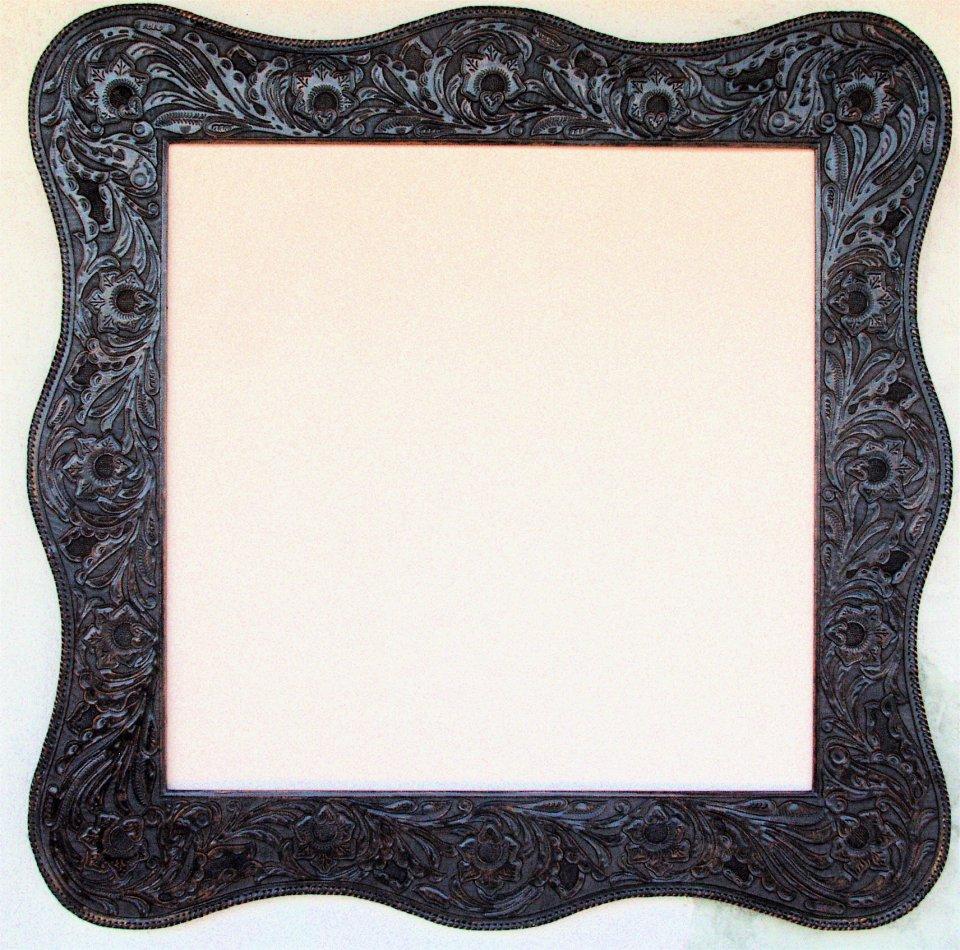western dark sienna tooled leather frame floral design with serpentine shape hand stitch edge