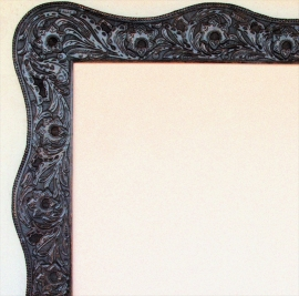 Western Hand Tooled Leather Frame, Inside opening 30x30 inches Outside 42.5x42.5 inches Dark Sienna Finish
