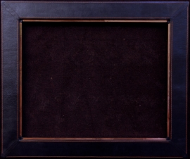 Black leather frame with pleated corner, red stitch solid copper liner, 4 inches wide, opening is 24 x 30, frame size is 32 x 38 inches. $1,450.00