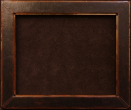 Dark brown leather , pleated corner with solid copper trim and liner, opening 24 x 30 inches, frame size 32 x 38 inches. $1,450.00