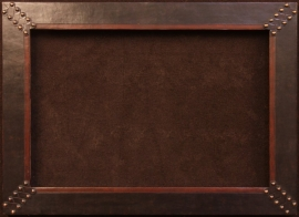 Leather frame with with cross hatch brass clavos, 4 inches wide, frame opening is 24 x 36 inches, frame size is 32 x 44 inches. $1,450.00