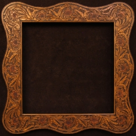 Western hand tooled floral design with Serpentine shape, hand stitch edge lacing. Opening is 30 x 30 inches, frame size is 42.5 x 42.5 inches. $1,985.00