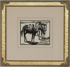 Navajo Ponies 1920s Block-print 7.25 x 9, price on request.