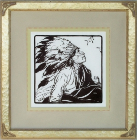 War Bonnet ca. 1920s Block-print 11 x 11