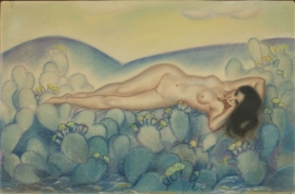 "Woman on Catcus, Pastel 19 x 28.75, $12,000.00. The most unique work by Megargee, only known nude. Documented in ""The Cowboy's Dream: The Mythic Life and Art of Lon Megargee"", page 76."