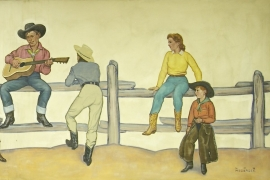 Detail 2, Mural , Lon Megargee, oil on canvas, 54 x 144 inches, ca. 1939. Painting was a commission for the N. Porter Saddle & Harness Company, Phoenix, Arizona. Call for pricing.