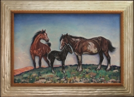 The Mule Colt Lon Megargee 20 x 30 inches Oil on Board ca. 1940s $16,000.00