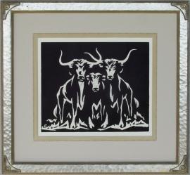 Longhorns Lon Megargee Block-print 12 x 14.25