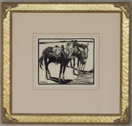 Navajo Ponies Lon Megargee Block-print 7.25 x 9