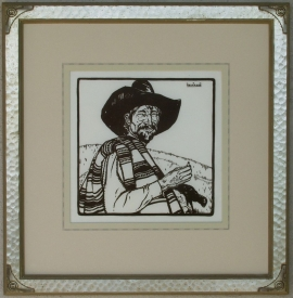 Sheepherder Lon Megargee Block-print 11 x 11