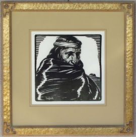 Hopi (Medicine Man) Lon Megargee Block-print 11 x 11 Lon Megargee
