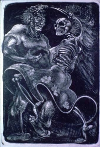 Baile Con La Talaca (Dance With Death) Stone Lithograph 1984 39 x 26 7/8 inches. Call for availability.