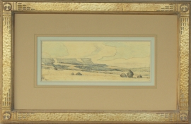 Maynard Dixon Arizona Desert 1941 4.75 x 13 inches conte crayon. Custom Dixon signature frame with Thunderbird logo. French matting with hand dyed mat, archival standards. $14,000.00