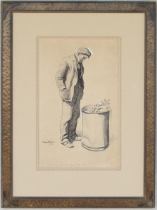 Maynard Dixon with hand carved Dixon drawing frame and French matting. NFS Private Collection