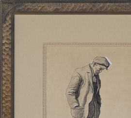 Maynard Dixon with hand carved Dixon drawing frame and French matting