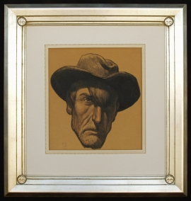 Frame for a Self Portrait of Maynard Dixon Frame 32.5 x 31 inches, NFS Private Collection