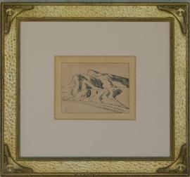 "Maynard Dixon, Nevada Desert, Study of Range 1927, 4.25 x 6 inches, Pen & Ink, ""Maynard Dixon Sketch Book"", 1967, framed 15 x 16 inches, $6,500.000"