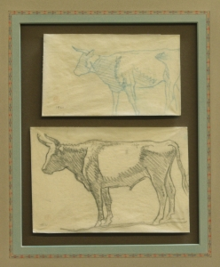 "Detail of Study of Steers, Refuge Ranch, Utah 1921, $5,500.00, Two drawings done on the Dixon Family Ranch, ""Refuge"", Madera County, California, 1921. Acquired by Donald Hagerty, Dixon authority, directly from Edith Hamlin Dixon. Drawing sizes are 3.25 x 5.5 inches and 4.25 x 6.25 inches."