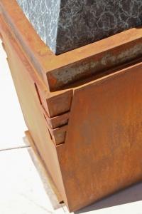 Detail of steel base for Ed Mell bronze, corner