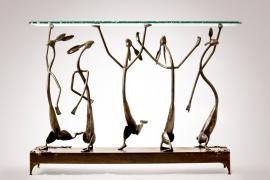 Shoshone Jackrabbit Ballet 35H x 48L x 17D Hand forged steel, Chip Edge Glass $9,500.00