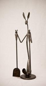 Shoshone Jackrabbit Fireplace Tools 37W x 10w x 9D Hand forged steel