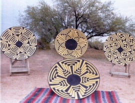 Pima Basket Designs in Steel by R. C. Merrill Steel rod coiled into basket shape with polychrome design, hand painted, 48 inches in diameter