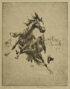 Henry Ziegler, Etching ca. 1930. Image size: 11 x 8.5 inches. Frame: 20 x 17.5 inches. $950.00
