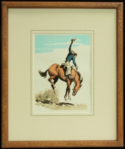 Vintage Lithograph, 1940s, published by Maynard Dixon. Hand carved frame with hand applied French line matte. Dixon Logo Thunderbird Corner, 23.5 x 19 inches, archival quality framing. $985.00 for the matching pair. SHIPPING $50.00.